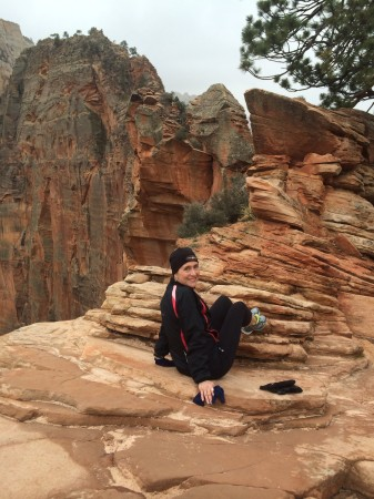 A little freaked out at Angel's Landing