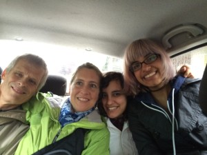 On the ride home from Tumbes. L to R: Bill, moi, Ellie, Laura